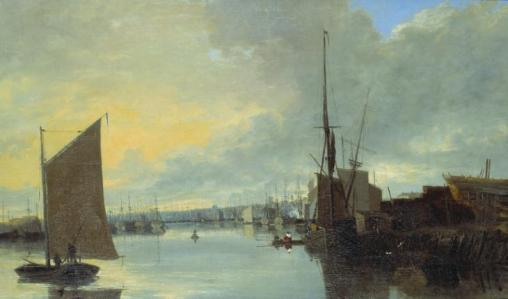 Yarmouth Harbour - Evening c.1817 by John Crome 1768-1821